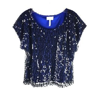 Laundry by Shelli Segal Top Blue Black Sequins 2A